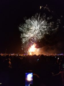 Fire works over the man